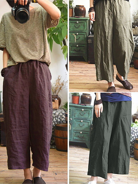 Women Casual Large Size Loose Wide Leg Cozy Pants