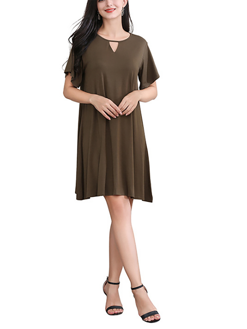Women Causal Summer Crew Neck Casual Modal Mini Dress