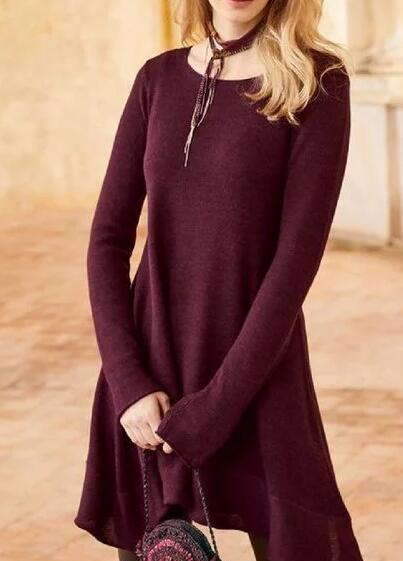 Wine Red Long Sleeve A-Line Dresses