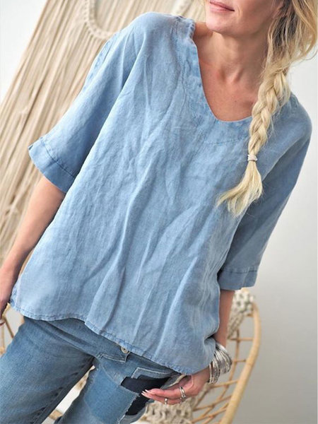 Solid Half Sleeves Round Neck Loose Casual Blouse Shirts