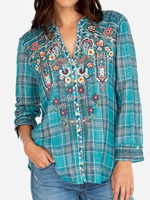 Blue Long Sleeve Floral Cotton-Blend Shirts & Tops