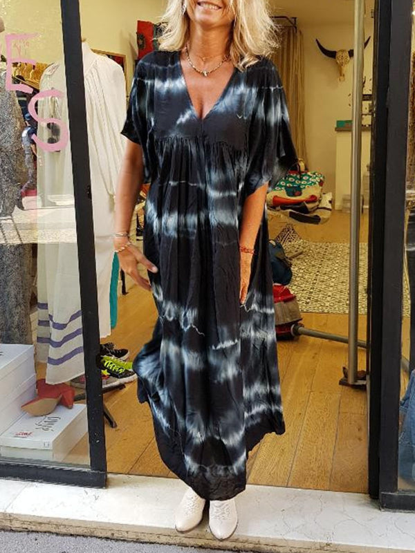 Women V Neck Summer Beach Plus Size Loose Printed Maxi Dresses