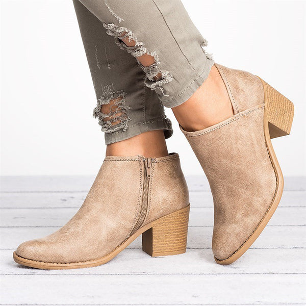 Plus Size Cutout Booties with Zipper Chunky Heel PU Distressed Artificial Leather Boots