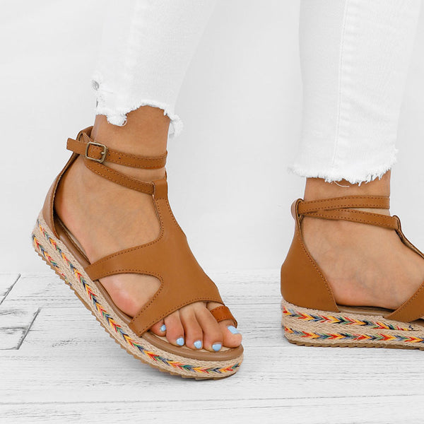 Women Micro Leather Adjustable Buckle Casual Sandals