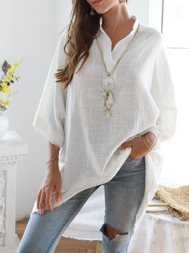 Women Half Sleeve Plain Boho V Neck Tops