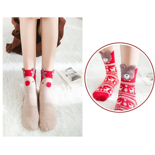 Fashion Colored One Pair Cotton Red Socks Cartoon Christmas Socks