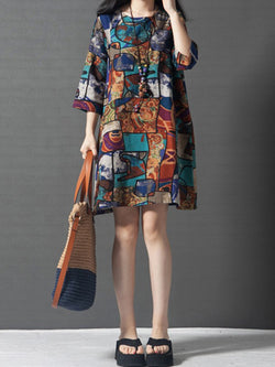 Women Daily 3/4 Sleeve Casual Printed Abstract Dress