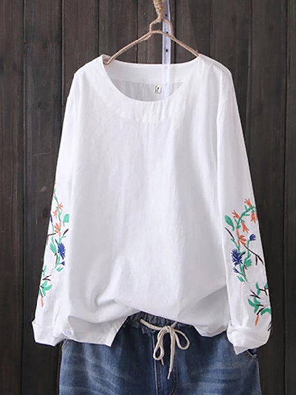 White Long Sleeve Floral-Embroidered Crew Neck Vintage Shirts & Tops