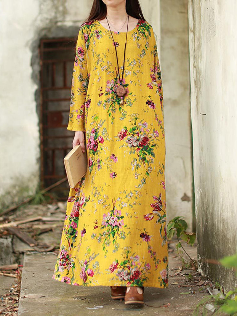 Long Sleeve Printed Crew Neck Shift Maxi Dress
