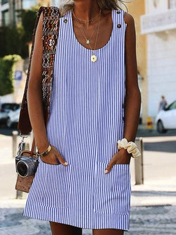 Crew Neck Sleeveless Dresses Shift Boho Pockets Striped Dresses