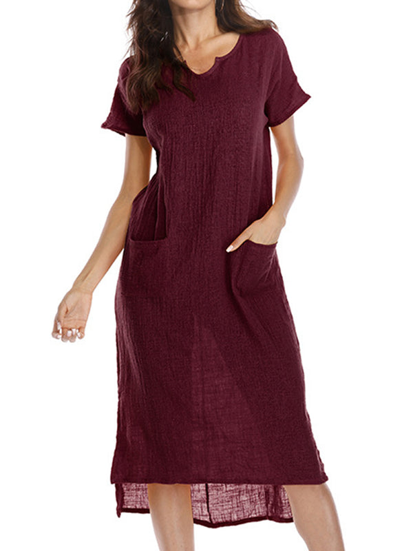 V neck Casual Midi Dress