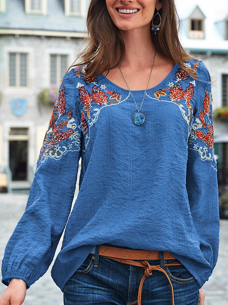 Casual Crew Neck Long Sleeve Tops