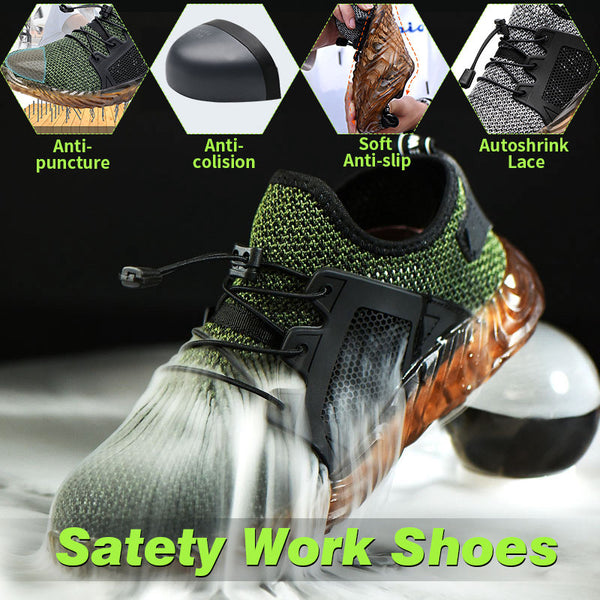 Unisex Automatic Shrink Shoelace Steel Toe Safety Work Anti-Collision Climbing Shoes