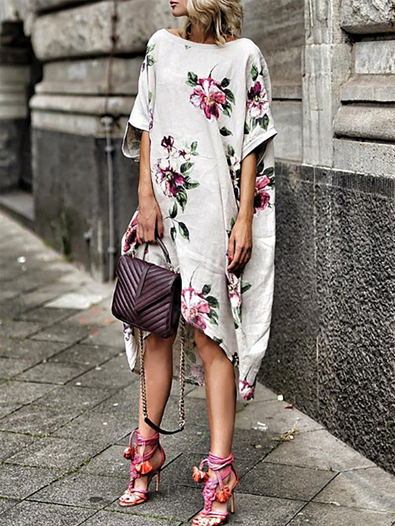 White Half Sleeve Cotton Floral Shift Dresses