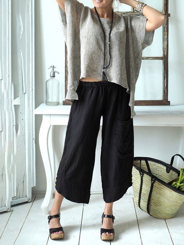 Women Plus Size Daily Shift Casual Cotton Buttoned Solid Pockets Pants