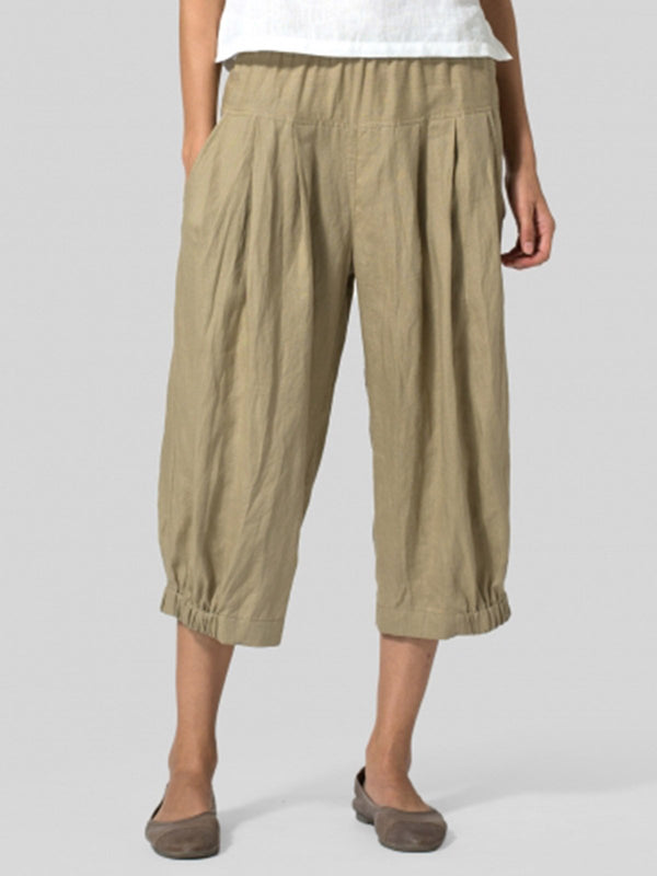 Casual Linen Pockets Bottoms