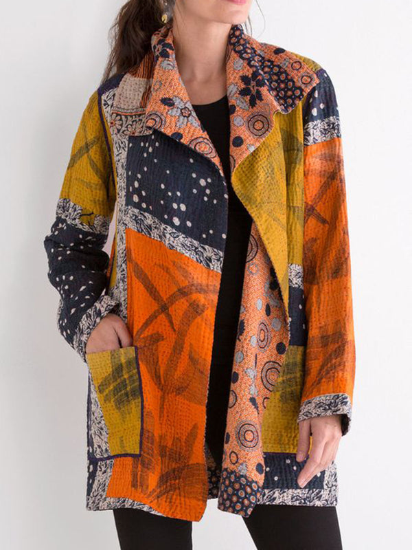 Orange Cotton-Blend Casual Shawl Collar Outerwear