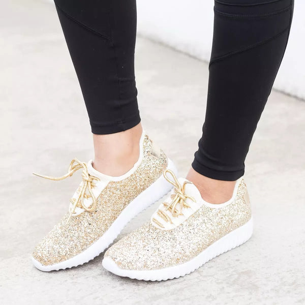 Sparkling Glitter Flat Heel All Season Daily Sneakers