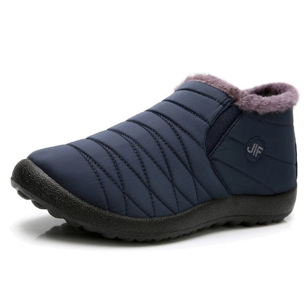 Men Plush Lining Warm Waterproof Cloth Snow Boots