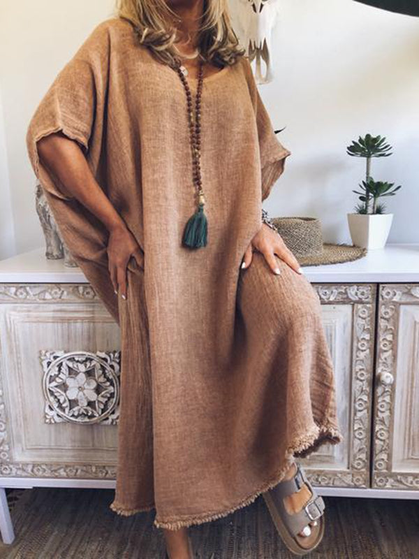 Women Short Sleeve Plain Loose Maxi Dresses
