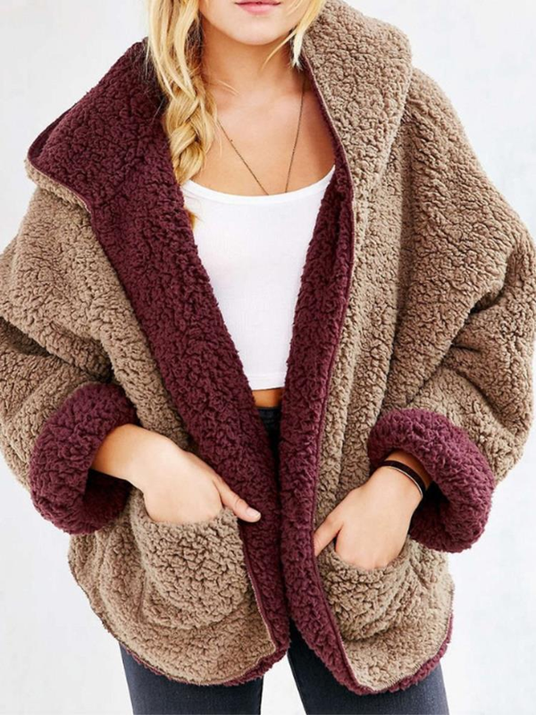 Women Plus Size Warm Reversible Faux Fur Long Sleeve Hooded Coat