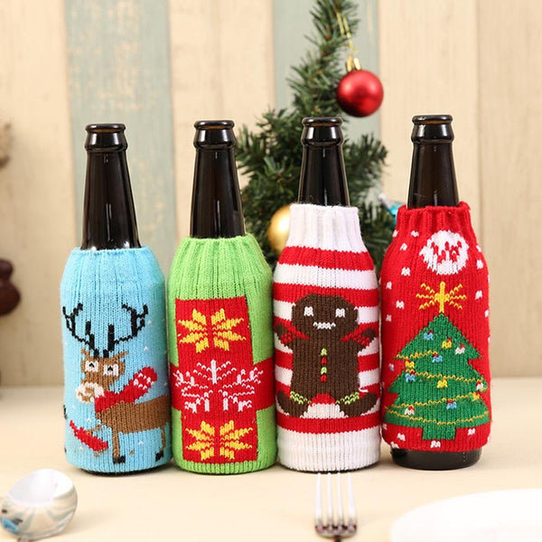 Christmas Knitting Stockings  Beer Wine Bottle Cover Set Decoration Supplies