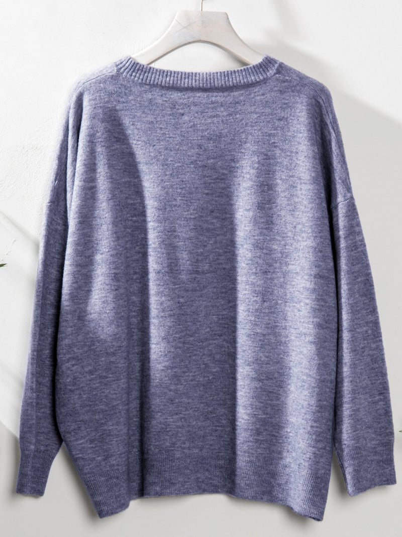 Crew Neck Cotton Long Sleeve Sweater