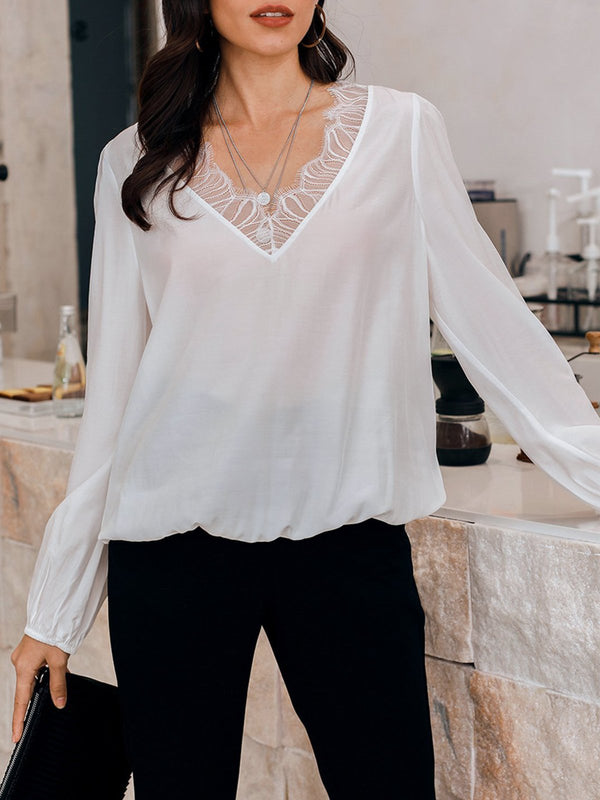 White V Neck Silk-Satin Casual Solid Shirts & Tops