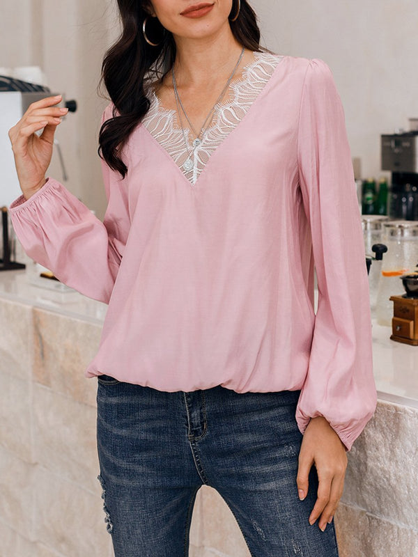 Pink Solid Long Sleeve Shirts & Tops