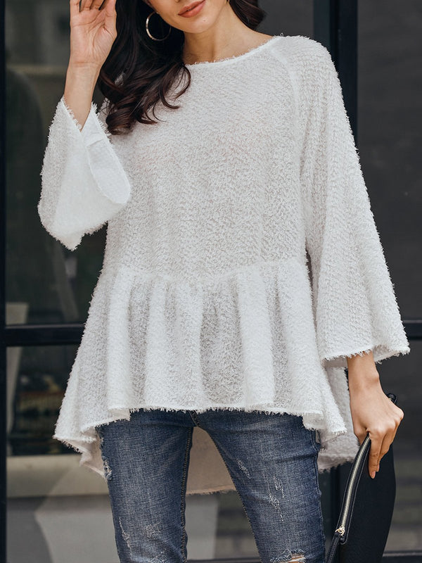 White Boho Bell Sleeve Shirts & Tops