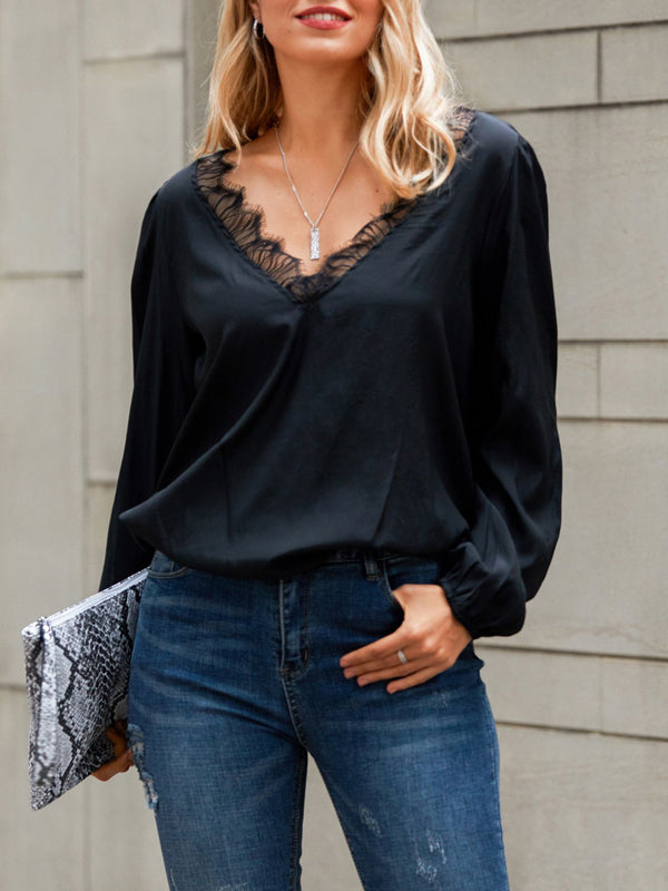 Black V Neck Casual Solid Shirts & Tops