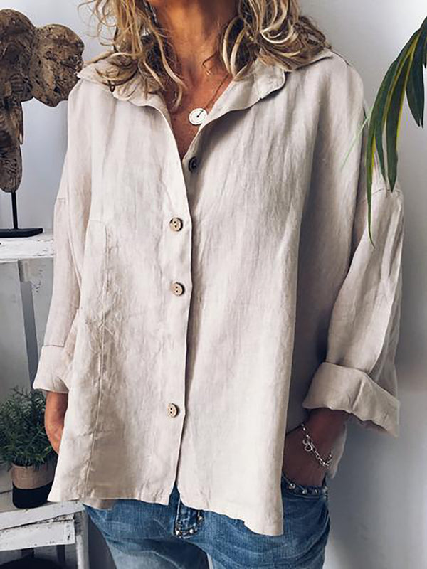 Long Sleeve Solid Shirts Tops