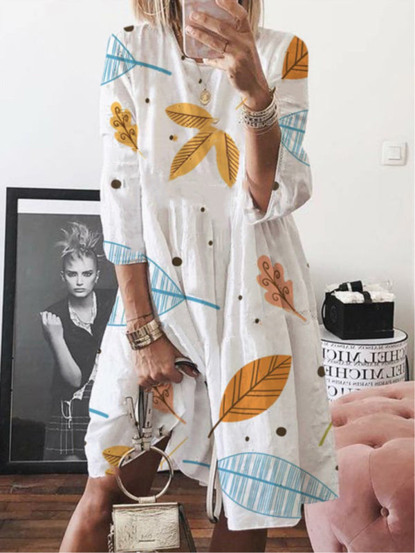 Casual Leaf Printed 3/4 Sleeve Crew Neck Dress