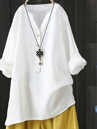 Cotton V Neck Long Sleeve Cozy Tops