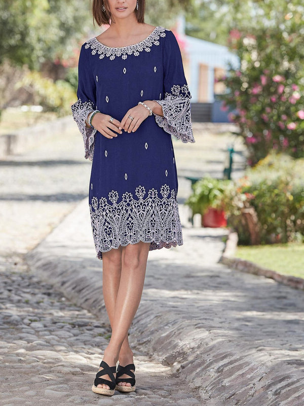 Round Neck Casual Cotton-Blend Floral Dresses
