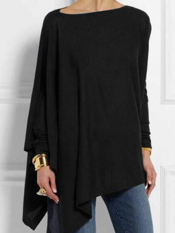 Women Solid High Low Round Neck Long Sleeve Shift Blouses&Shirts
