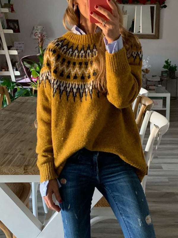 Yellow Knitted Long Sleeve  plus size  Sweater