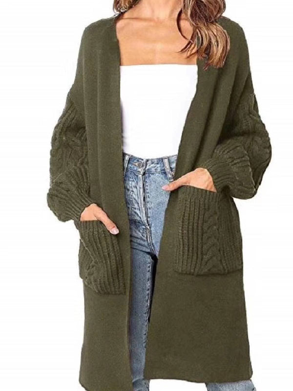 Long Sleeve Round Neck Knitted Solid Outerwear
