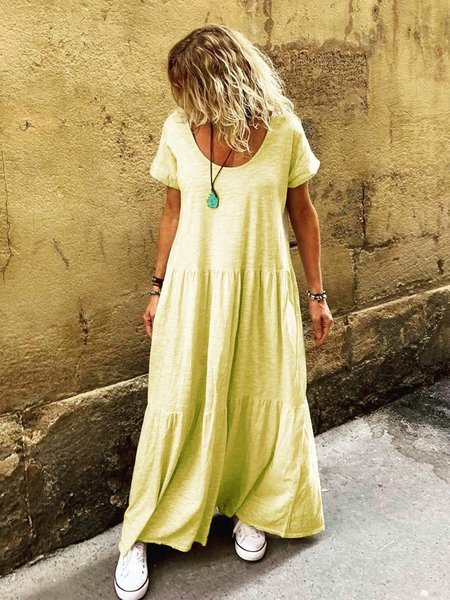 Women Ruffled Short Sleeve Summer Round Neck Maxi Dresses