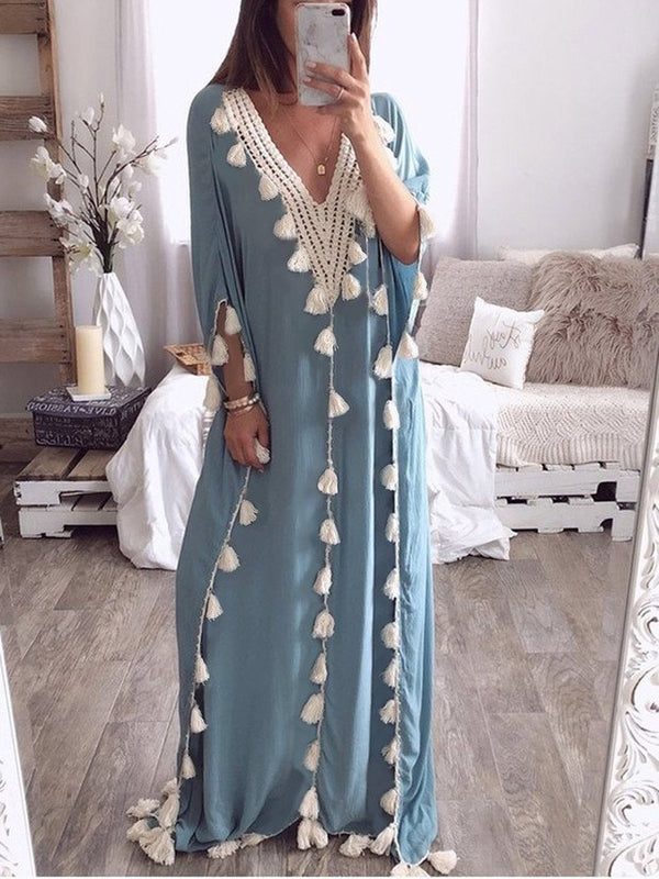 Casual V Neck Solid Maxi Dresses