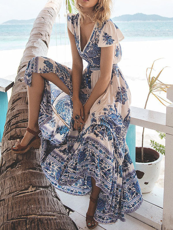 Blue V Neck Beach Dresses