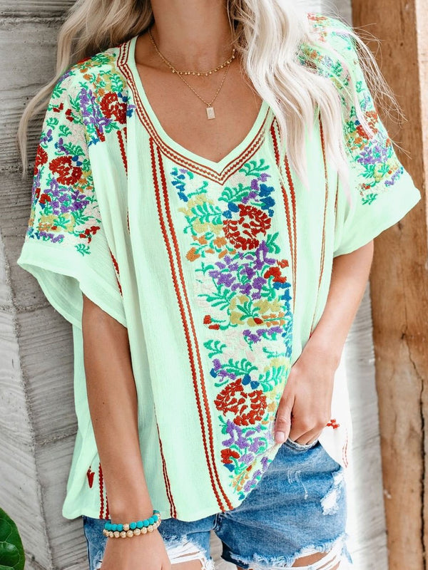 Short Sleeve Floral V Neck Tops