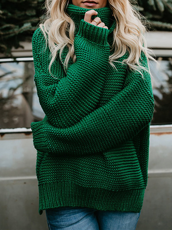 Women Long Sleeve Knitted Casual Shift Sweater