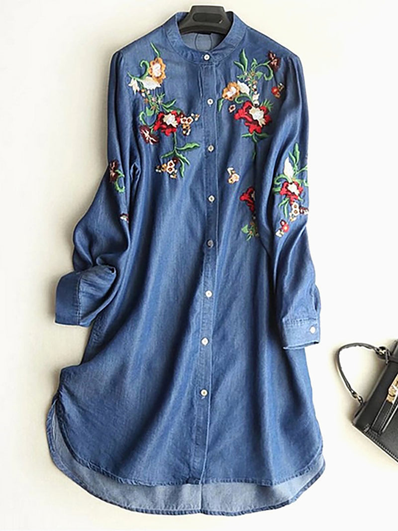 Vintage Flower Embroidery Denim Dress Spring Casual Loose Long Sleeve Women Shirt Dresses