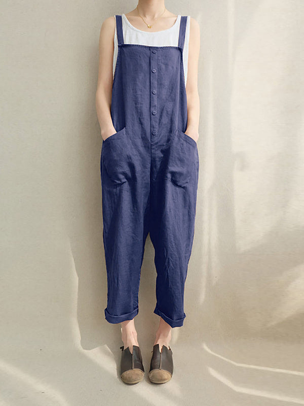 Women Casual All Season High-rise Mid-weight Cotton Pockets Jumpsuits