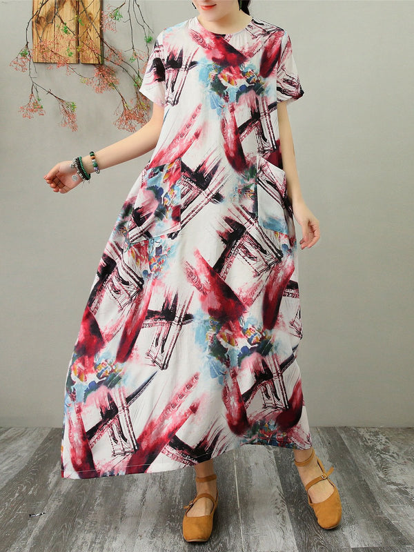Crew Neck Abstract Dual Pockets Women Maxi Dresses