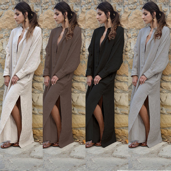 Casual Solid Cotton Dresses