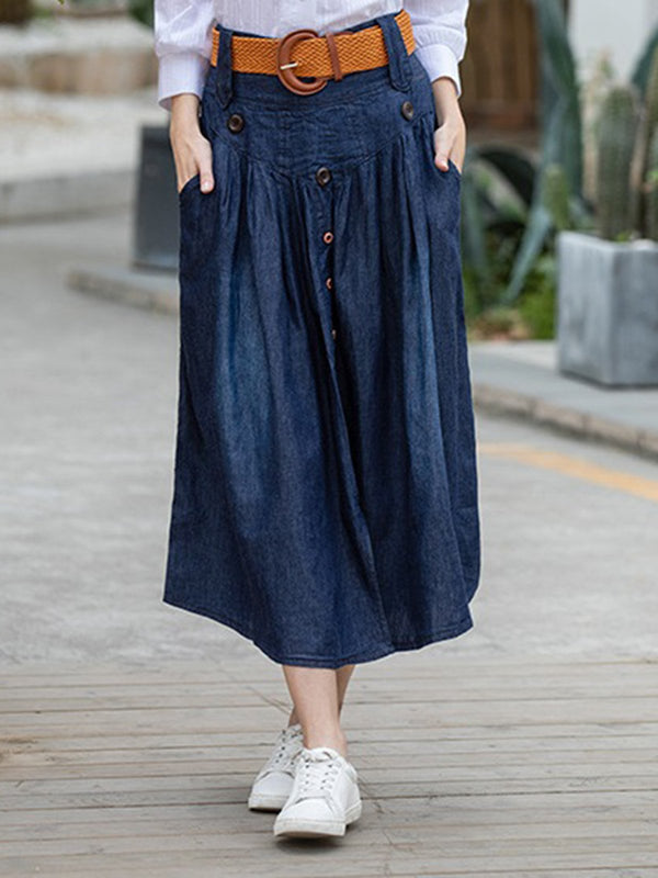 Dark Blue Solid Jeans Maxi Casual Skirts With Belt