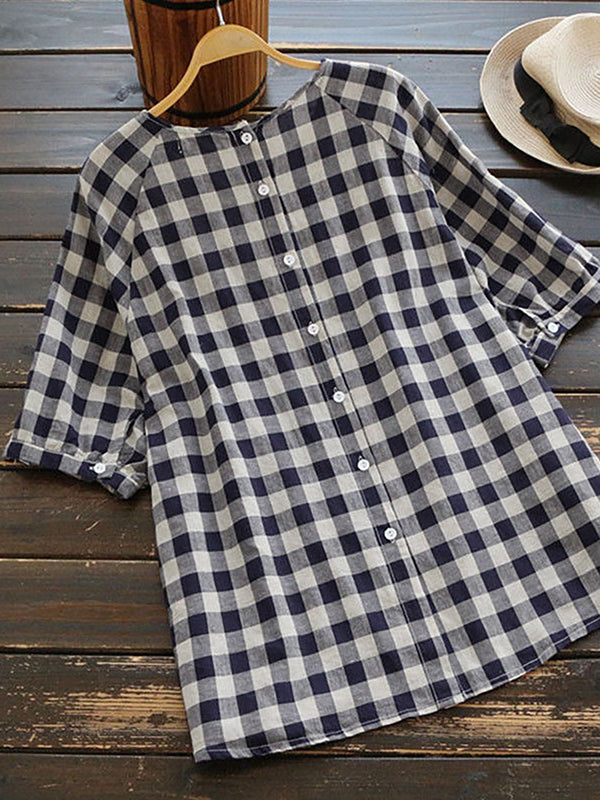Women Half Sleeves Blouse Crew Neck Loose Check Tops
