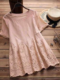 Women Long Sleeve Embroidered O-neck Vintage Blouse Cute Cutout Short Sleeves Tops